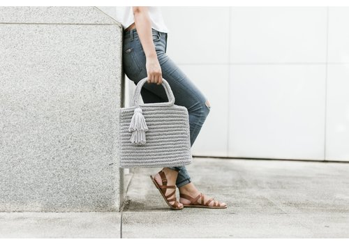 Binge Knitting Shimmer Tassel Tote - Light Grey
