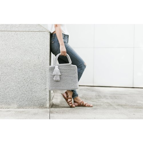 Shimmer Tassel Tote - Light Grey