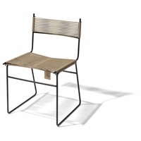 Polanco Dining Chair Sled Base Black/Beige