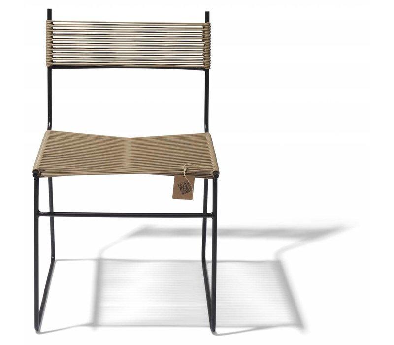 Polanco Dining Chair Sled Base Black/Beige