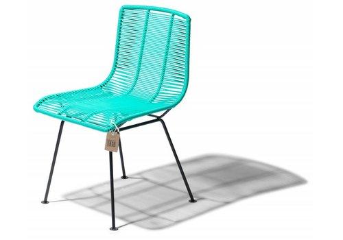 Silla Acapulco Rosarito Dining Chair Black/Aqua Turquoise