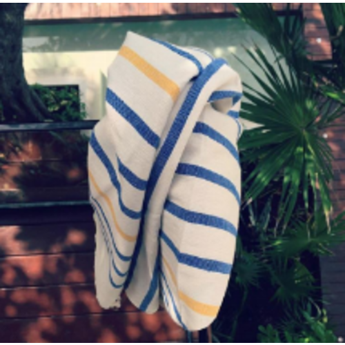 Beach Throw - Big Stripe Blue Yellow - 170x89cm