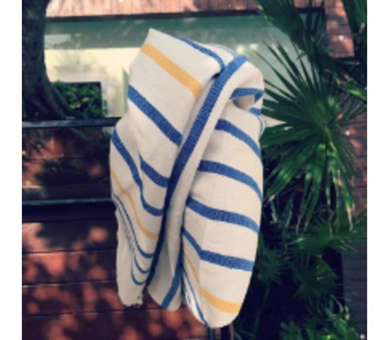 Beach Throw - Big Stripe Blue Yellow - 170x89cm