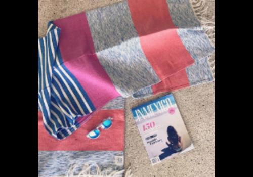 Hula Beach Throw - Big Stripe Fuschia Blue - 170x89cm
