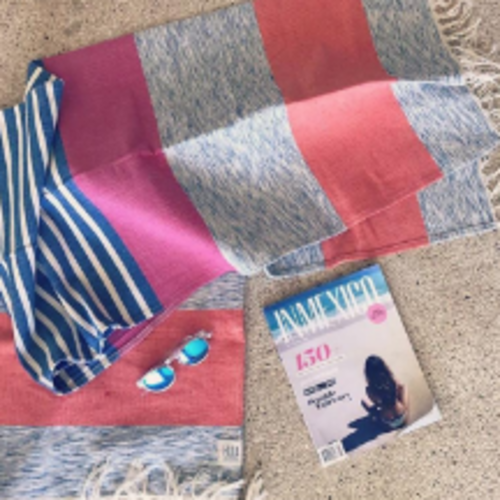 Beach Throw - Big Stripe Fuschia Blue - 170x89cm
