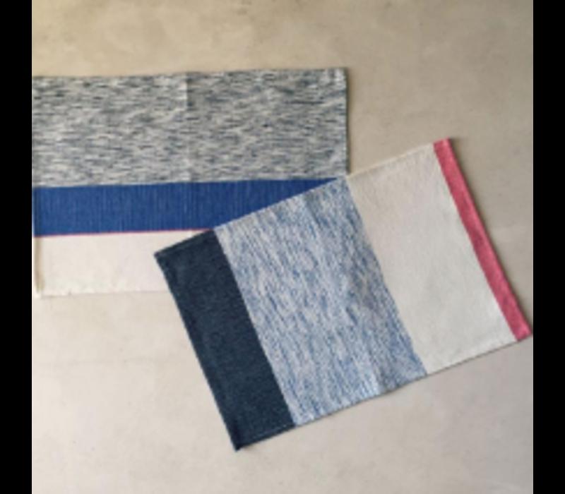 Placemat/Napkin - Blue/Grey/Pink - Set of 4