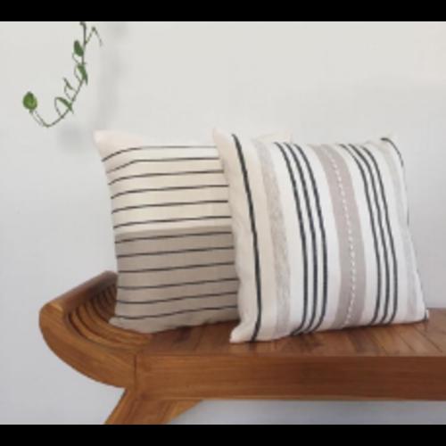 "Cushion ""Rayas"" Dark Grey / Beige & Natural"