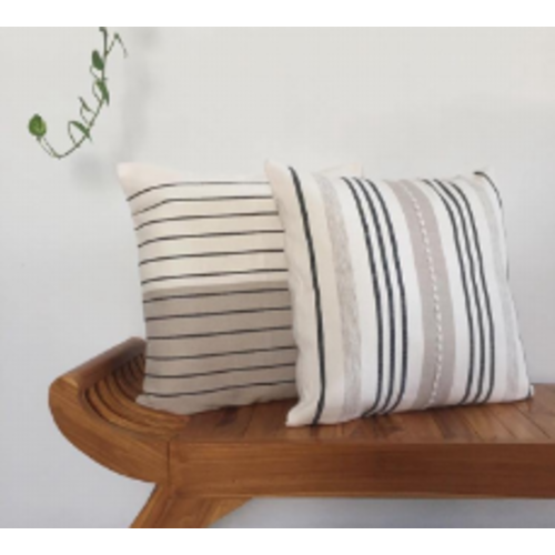 Cushion Stripes Dark Grey / Beige & Natural