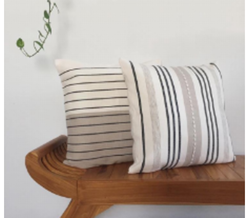 Left Cushion Square Horizontal Stripes