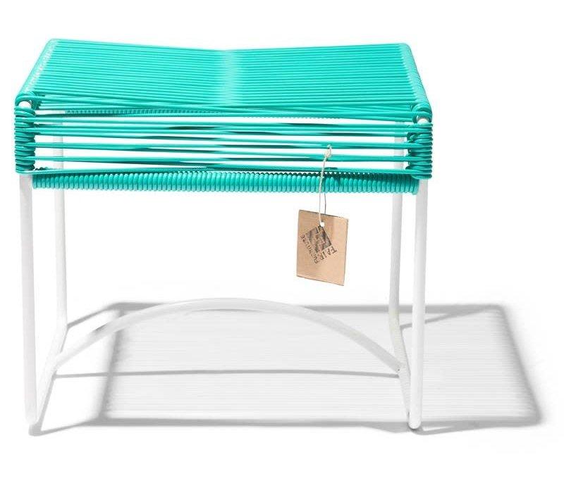 Xalapa Stool White/Turquoise