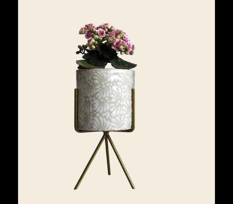 Bloempot Ananda - Wit - Medium ø10 cm x 10 cm
