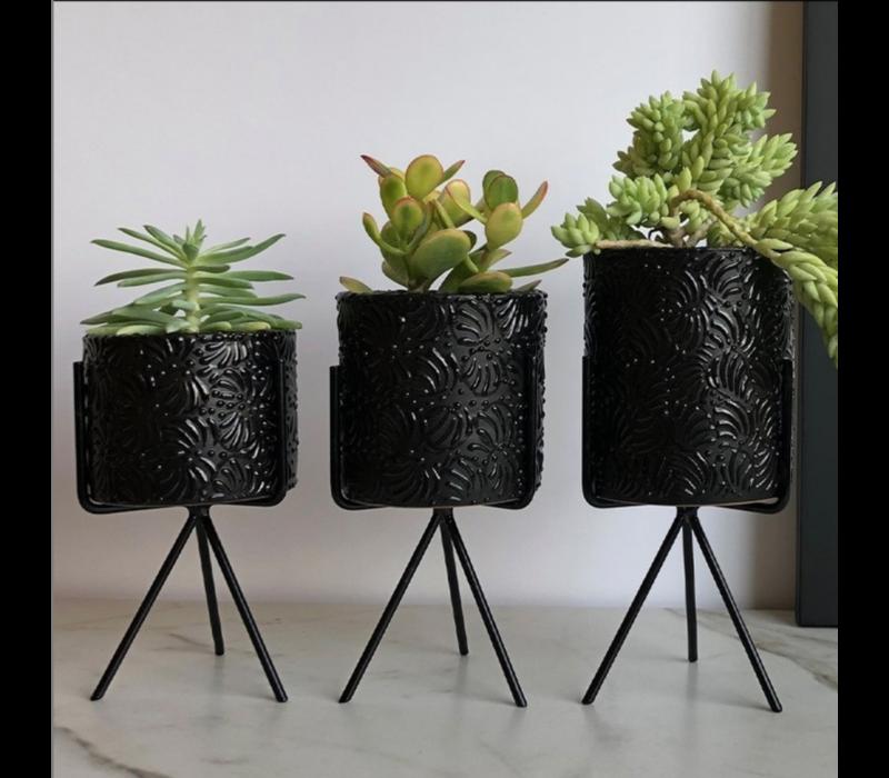 Flower Pot Ananda - Black - Medium ø10 cm x 10 cm