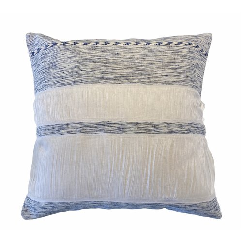 Cushion Natural & Blue with Braid