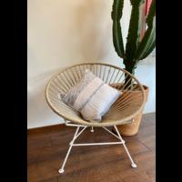 """Cushion """"Cielo"""" Natural & Blue with Braid - Square 45 x 45 cm"""