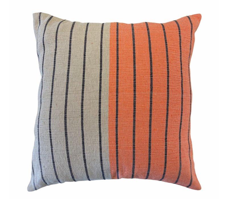 """Cushion """"Rayas"""" - Dark Grey / Beige & Orange"""