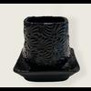 Talateca Flower Pot Cuadrada - Black