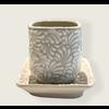 Talateca Flower Pot Cuadrada - White