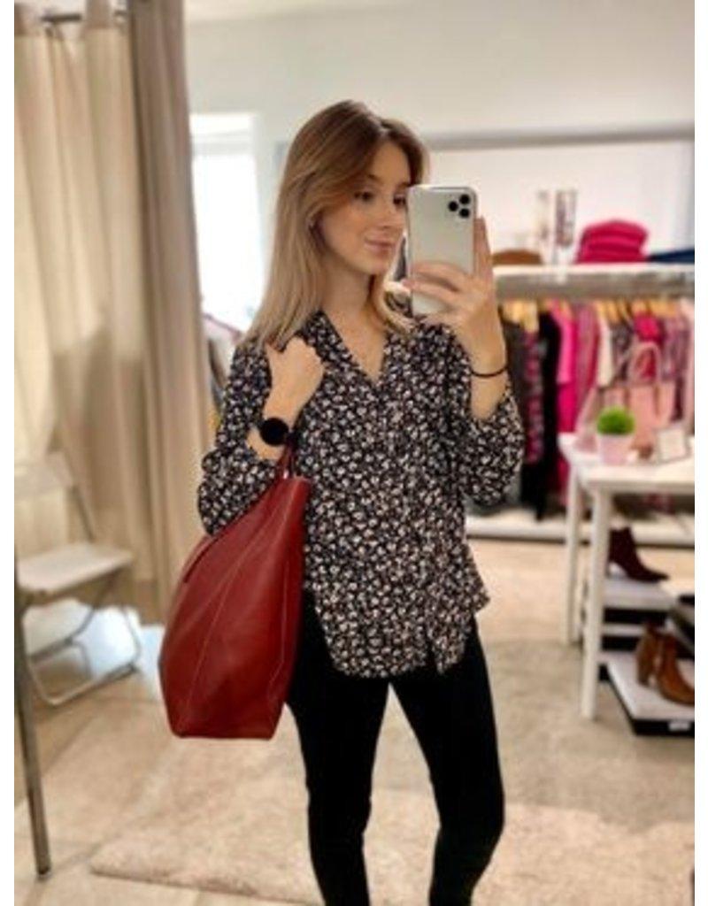 Guiliano Leren shopper handtas met strik
