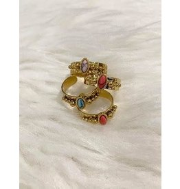 BIBA Smalle gouden ring gekleurd ovaal steentje Biba