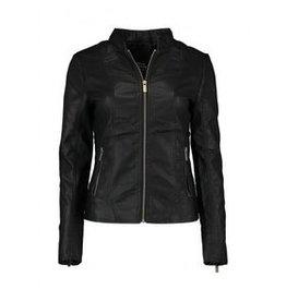 Hailys Leren jasje in het zwart en cognac