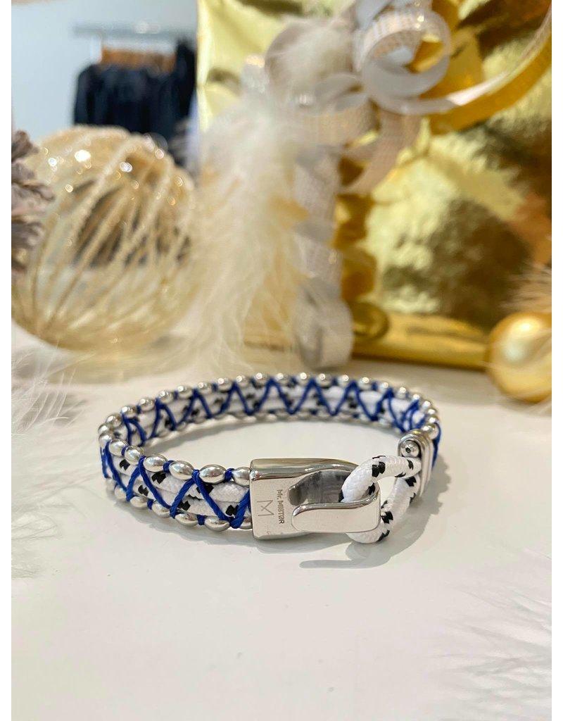 Mr. Mistor Heren armband stof wit/blauw/zilver