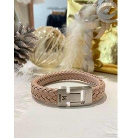 Mr. Mistor Heren armband gewoven taupe