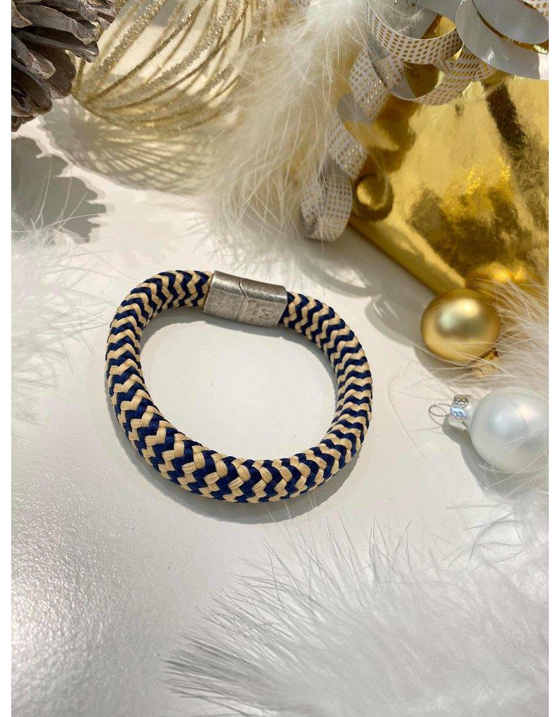 Mr. Mistor Heren armband stof blauw/beige