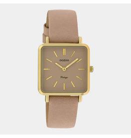 OOZOO OOZOO C9942 leren band rozegrijs met goud horlogekast
