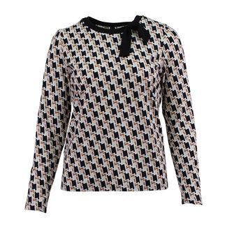 outlet Shirt met print en strikje Barbara Lebek 15160002