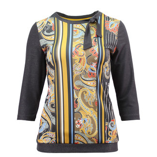 outlet Shirt grijs met print en strikje Barbara Lebek 17510002