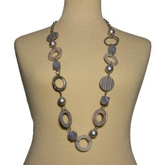 Halsketting grijs / zilver lang