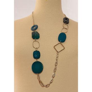 Halsketting zilverkleuring  blauw