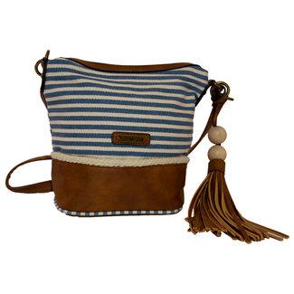 Handtas bruin blauw creme gestreept 19 cm