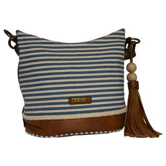 Handtas bruin blauw creme gestreept 25 cm