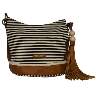 Handtas bruin zwart creme gestreept 25 cm
