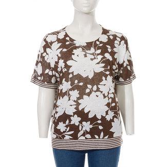 Via Appia Due Shirt bruin bebloemd 821 302 Via Appia Due
