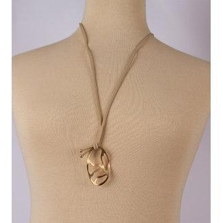 Halsketting leer beige goud hanger