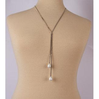 Halsketting metalen ketting zilver met 2 parels