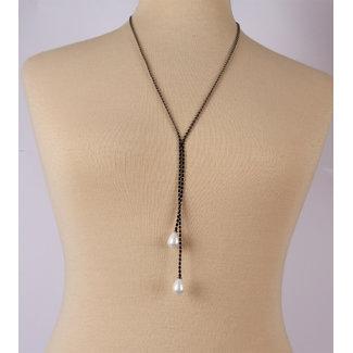 Halsketting metalen ketting zwart met 2 parels
