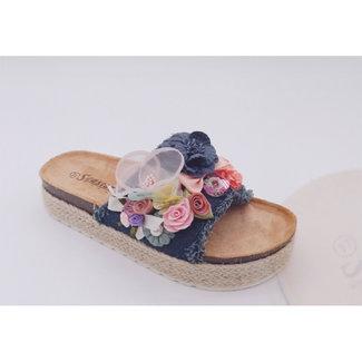 Huismerk Slippers D.blauw met bloem