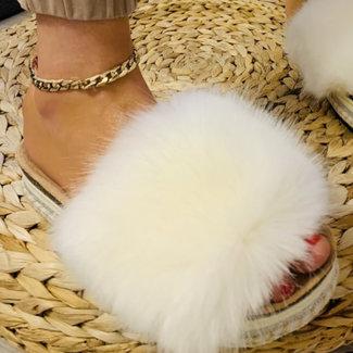 Huismerk Slippers wit