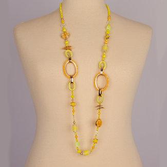 halsketting geel grote en klein schakels