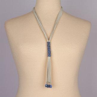 halsketting leer met blauwe steentjes