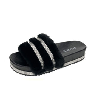 Huismerk Slippers pels zwart