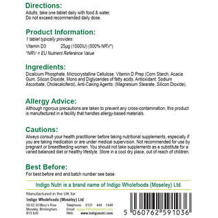 Indigo Nutri Indigo Nutri Vegan Vitamin D3 25mcg 1000iu 180 Tablets