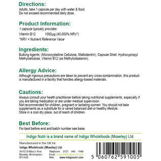 Indigo Nutri Indigo Nutri Vitamin B12 Methylcobalamin 1000mcg 120 Capsules