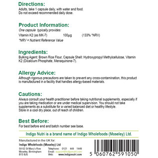 Indigo Nutri Indigo Nutri Vitamin K2 MK-7 100mcg 60 Capsules