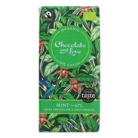 Chocolate and Love Chocolate & Love Organic Mint 67% Dark Chocolate 80g