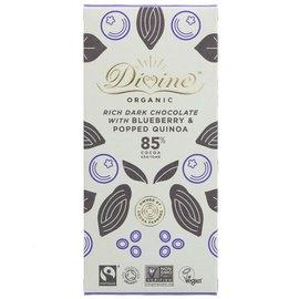 Divine Divine Organic 85% Dark Chocolate with Blueberries & Popped Quinoa 80g