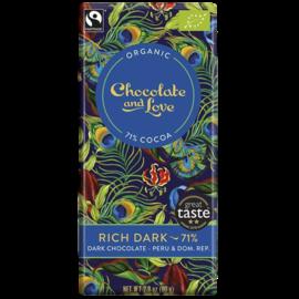 Chocolate and Love Chocolate & Love Organic Rich Dark 71% Dark Chocolate 80g